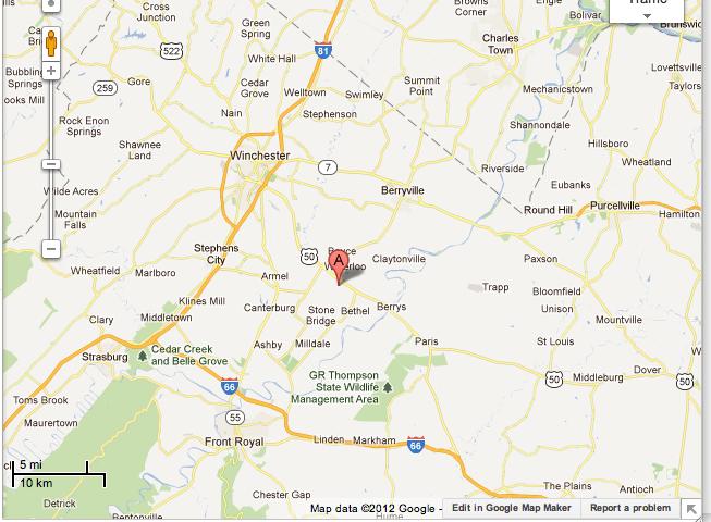 Google Maps to Blandy Experimental Farm
